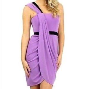 BCBG one shoulder Mila dress in violet